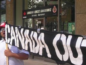MAWO Organizer Shakeel Chanting 'Canada Out Now!' July 28 2005