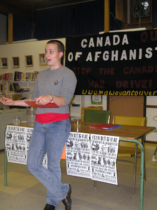 Nita Palmer speaking at October 7 forum against occupation of Afghanistan