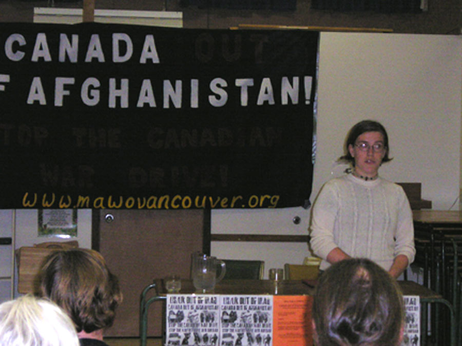 Sarah Grant speaking at October 7 forum against occupation of Afghanistan