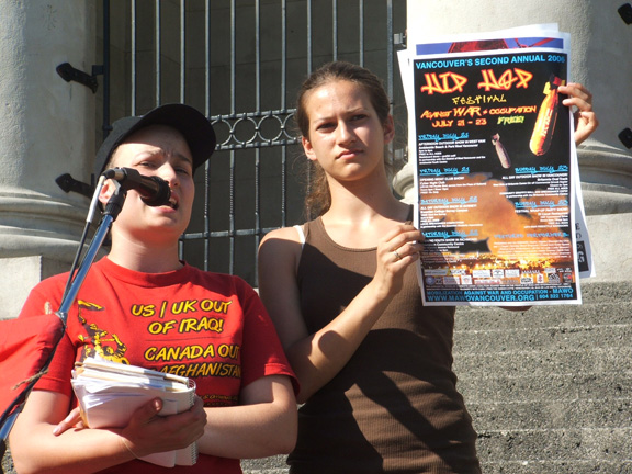 Rally Leaders Nita Palmer & Janine Solanki Promote the 2nd Annual Hip Hop Festival Against War & Occupation